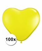 Hart ballonnen geel 100 stuks