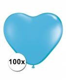 Hart ballonnen lichtblauw 100 stuks