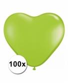 Hart ballonnen lime transparant 100 stuks