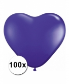Hart ballonnen paars 100 stuks
