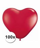 Hart ballonnen rood 100 stuks