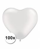 Hart ballonnen wit transparant 100 stuks