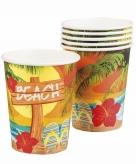 Hawaii thema bekers 6 stuks