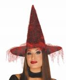 Heksen dameshoed zwart rood met spinnenweb