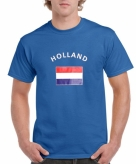 Heren shirt blauw met de hollandse vlag