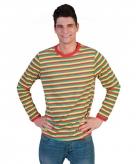 Heren shirt dorus gestreept in carnavalskleuren
