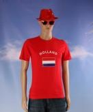 Heren shirt rood met de hollandse vlag