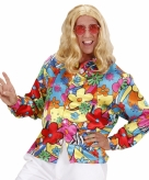 Hippie flower power shirt heren