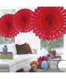 Honeycomb waaiers rood 45 cm