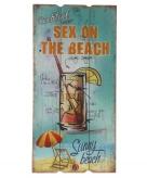 Houten muurplaatje sex on the beach cocktail