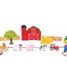 Houten speelgoed boerderij met dieren