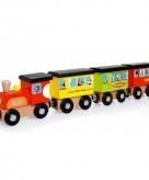 Houten trein rond de wereld 31 cm