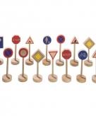Houten verkeerbordjes 15 stuks