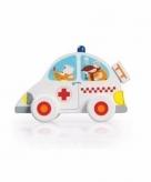 Houten witte ambulance 10 cm