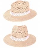 Ibiza hoed van stro met kanten bandje