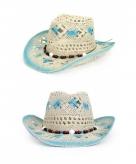 Ibiza strand hoed blue white