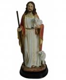 Jezus beeldje met lammetjes 20 cm