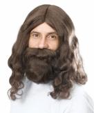Jezus pruik met baard bruin