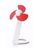 Kantoor ventilator wit rood 22 cm met usb aansluiting