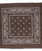 Katoenen zakdoek bruin met paisley print 55 x 55 cm