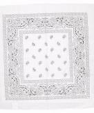 Katoenen zakdoek wit met paisley print 55 x 55 cm