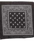 Katoenen zakdoek zwart met paisley print 55 x 55 cm