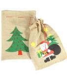 Kerst cadeautjes zak kerstmanprint 60 x 90 cm