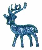 Kerst rendier turquoise met glitters 10 cm