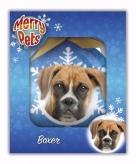 Kerstbal hond boxer 8 cm