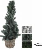 Kerstboom donkergroen in mand 80 cm