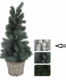 Kerstboom wit in mand 60 cm