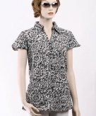 Kleding dames blouse met korte mouwen