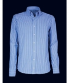 Kleding heren overhemd gestreept blauw 10015773