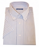 Kleding heren overhemd gestreept wit 10015772