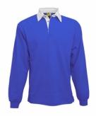 Kleding kobaltblauw rugbyshirt met witte kraag