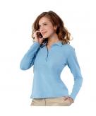 Kleding lichtblauwe dames poloshirt lange mouw
