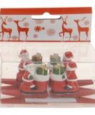 Knijper met kerstman op laarzen 4 stuks