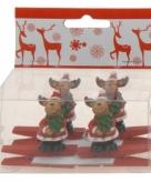 Knijper met rendier met kerstboom 4 stuks