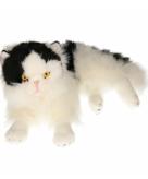 Knuffel kat zwart wit van 35 cm