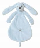 Knuffeldoekje konijn blauw 25 cm