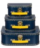 Kraamkado koffertje donkerblauw geel 16 cm