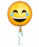 Lachende emoticon met traanogen folie ballon 43 cm