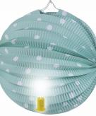 Lampion groen met witte stippen 20 cm