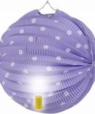 Lampion lila met witte stippen 20 cm