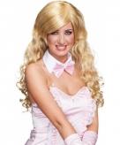 Lang blond krullende pruik