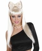 Lange blonde popster pruik met strik