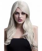 Lange pruik blond luxe voor dames