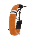 Leren indianen armbandje oranje 7 cm