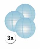 Licht blauwe lampionnen 25 cm 3 stuks
