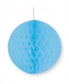 Lichtblauwe papieren kerstbal 10 cm